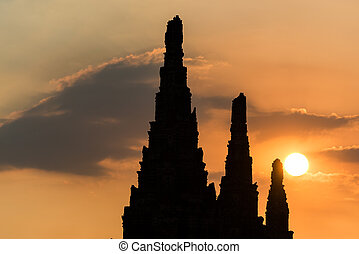 ancien, silhouette, coloré, bouddhiste, ciel, coucher soleil, temple