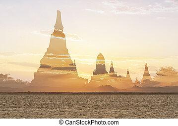 ancien, silhouette, scène abstraite, coucher soleil, fond, temple