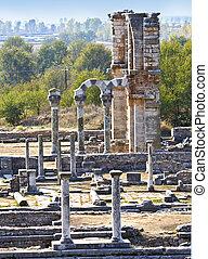ancien, site, grec, filippous, grèce, archéologique, temple, vue