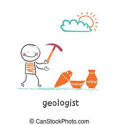 ancien, stands, géologues, ustensiles, prise, marteau