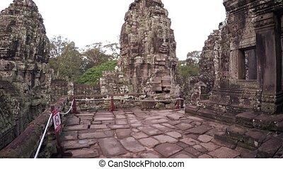 ancien, temple, bayon, cambodge, pierre, structures, sculpté