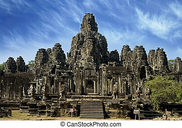 ancien, temple, dans, wat angkor, cambodge