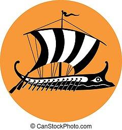 ancien, trireme, illustration, grec, vecteur, ship.