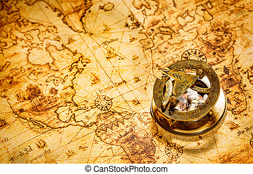 ancien, vendange, map., mensonges, compas, mondiale
