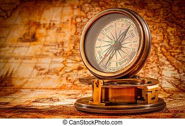 ancien, vendange, map., mensonges, compas, mondiale