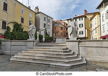 ancien, vieille ville, slovénie, carrée, piran