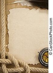 ancien, vieux, vendange, cordes, papier, fond, compas