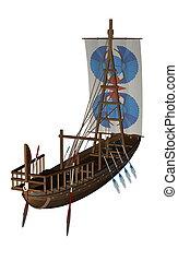 ancien, voile, render, -, bateau, 3d