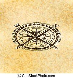 ancien, vue, papier, classique, rose, symbole, vent, isométrique, compas, vendange, icône