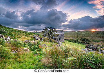 Ancient abandoned farm house on Bodmin Moor in Cornwall