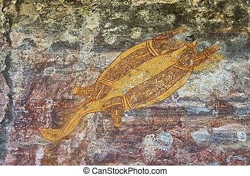 Ancient aboriginal rock drawing