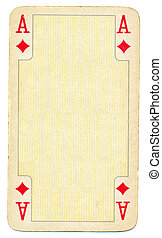 ancient ace of diamonds playing card paper background