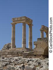 Ancient Acropolis in Rhodes. Lindos city. Greece