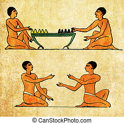 Ancient Aegypt, boad game players, morra players - Collage...