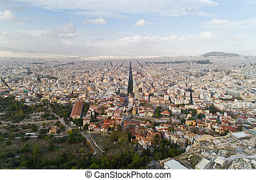 Ancient Agora of Athens and modern city - Aerial view of...