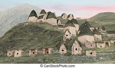 Ancient Alanian necropolis in North Ossetia, Russia -...