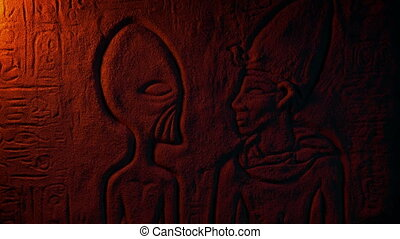 Ancient Alien Egyptian Wall Carving In Fire Light - Egyptian...