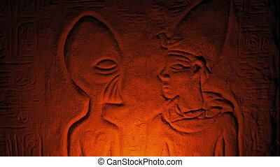 Ancient Alien Wall Carving Lit Up Inside Tomb - Egyptian...