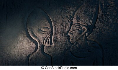 Ancient Aliens Wall Art In Ancient Tomb - Egyptian wall art ...