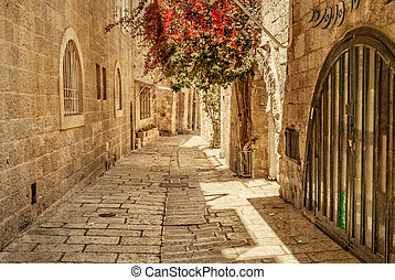Ancient Alley in Jewish Quarter, Jerusalem. Israel. Photo in...
