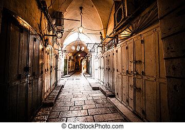 Ancient Alley in Jewish Quarter, Jerusalem, Israel.