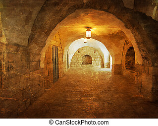 Ancient Alley in Jewish Quarter, Jerusalem. .Photo in old color image style.