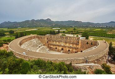 Ancient amphitheater Aspendos in Antalya, Turkey