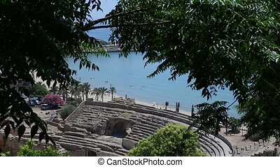 ancient amphitheater at tarragona in summer