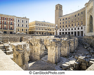 Ancient amphitheater in Lecce, Italy