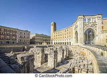 Ancient amphitheater Lecce, Puglia, Italy