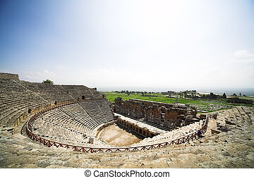 Ancient amphitheater near Pamukkale in Hierapolis, Turkey