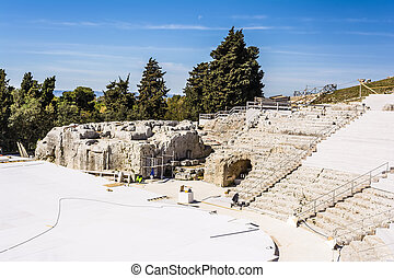 Ancient amphitheater ruins in Syracuse, Sicily, Italy