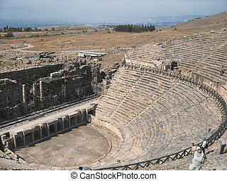 Ancient amphitheatre in Hierapolis, Pamukkale, Turkey