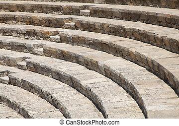 Ancient amphitheatre in Kourion, Cyprus, a horizontal ...