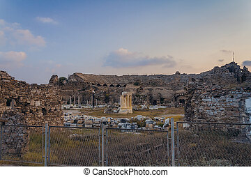 Ancient amphitheatre in Side (Turkey) at the evening