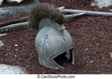 antique greek iron helmet