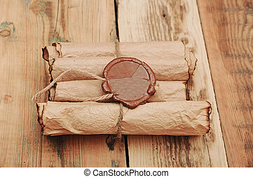 Ancient antique scrolls on the table