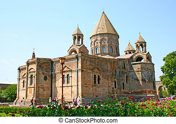 Mother Cathedral of Holy Etchmiadzin, one of the oldest churches in the world, it was first built by Saint Gregory the Illuminator as a vaulted basilica in 301-303, when Armenia had just adopted Christianity as a state religion (the first such in world history).
