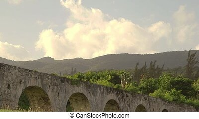 Historic arches seaside ruins of an 1837 aqueduct situated on an 18th-century sugar plantation