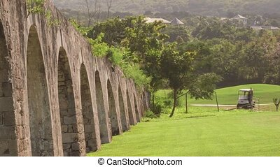 Historic arches seaside ruins of an 1837 aqueduct situated on an 18th-century sugar plantation - Montego Bay, Jamaica