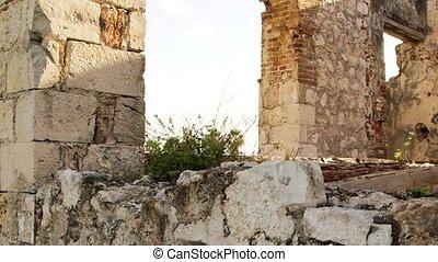 Ancient aqueduct Jamaica - Historic arches seaside ruins of...
