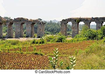 Ancient aqueduct of Hindu civilization in Hampi, India