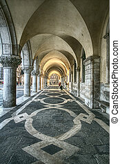 Ancient arcade, Saint Marco Square in Venice Italy
