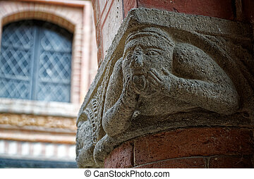 Ancient arch decorating, italy elemental ornate architecture.