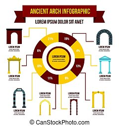 Ancient arch infographic concept, flat style