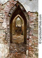 Ancient arches through the brick walls