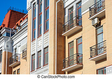 ancient architectural building with balconies