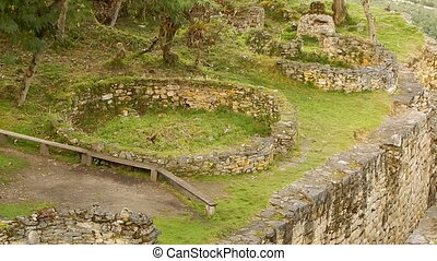 ancient architecture and walls on Machu Picchu - High angle...