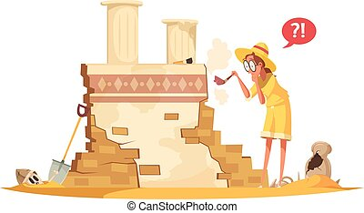 Ancient Architecture Archaeological Works Illustration -...