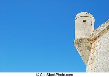 Ancient architecture detail of a castle